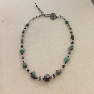 Handmade adjustable turquoise and crystal necklace